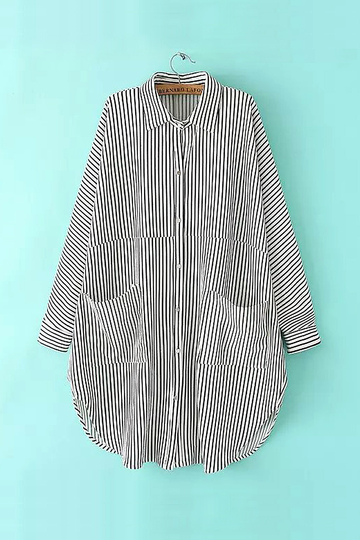 White Oversized Stripe Shirt with Classic Collar
