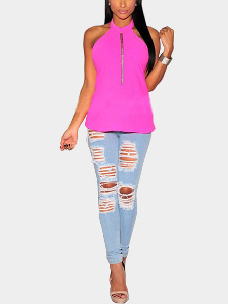 Light Blue Ripped Jeans taille haute avec Design