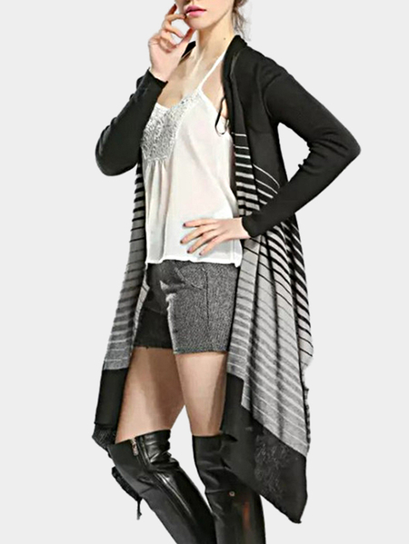 Fashion Irregular Hem Stripe Details Long Outerwear