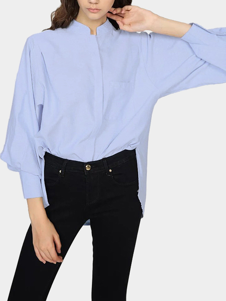 High-low Hem Long Shirt with One Chest Pocket