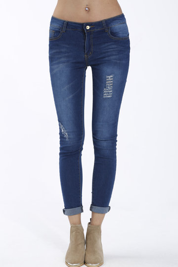 Blue Low-waist Skinny Pencil Ripped Jeans