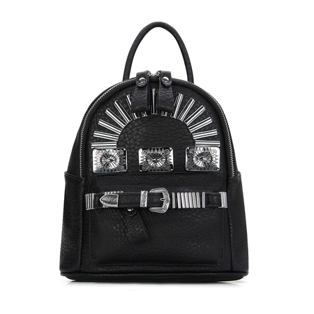 Textured Leather-look Mini Backpack in Black with Engraved Silver Buckle and Metal Front