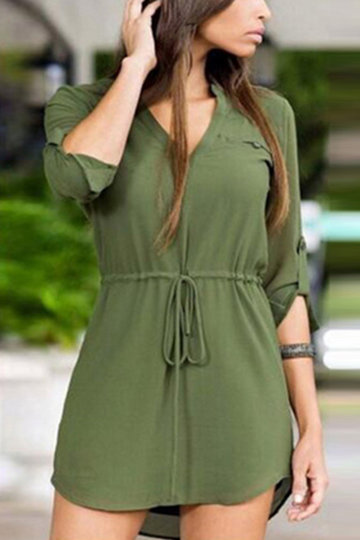 Army Green Sexy Long Sleeves Self-tie Mini Dress