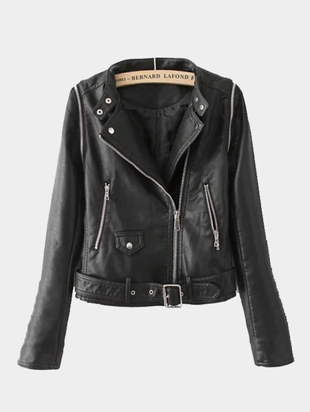 Leather-look Biker Jacket with Detachable Sleeves