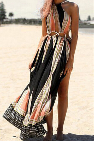 Sexy Splited Hem Maxi Open Back Vestido