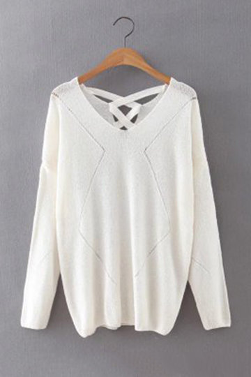 Plunge soltas Lace-up Voltar oco Out Sweater