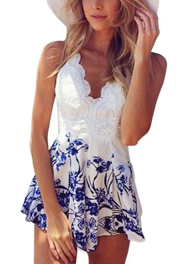White Lace Contrast Spaghetti Beach Playsuit