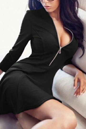 Black Sexy V-neck zipper Bodycon Mini Dress