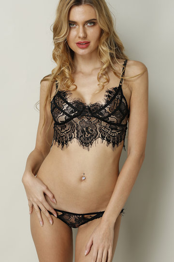 Black Random Printed Sexy Lace Details Lingerie Set with No Falsies