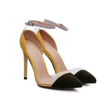 Color Block Ankle Strap Pumps