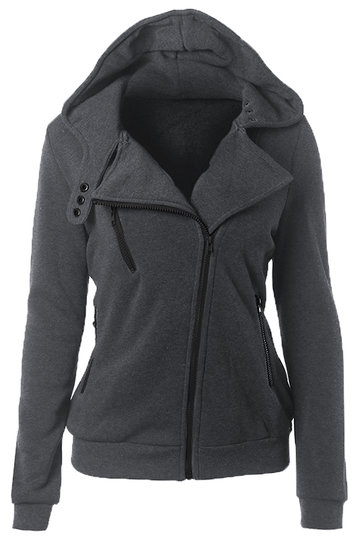 Dark Grey Casual Hoodie With Irregular Zipper