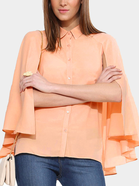 Sheer-through chiffon maniche a pipistrello Capo dello scialle Top