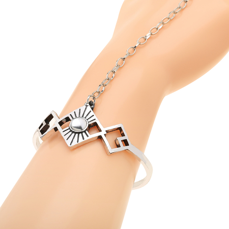 Retro Exaggerated Ethnic Artificial Crystal Bracelet with Ring