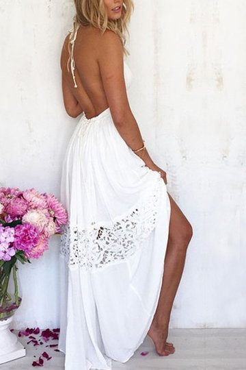 White Backless Halter costura vestido de praia Lace