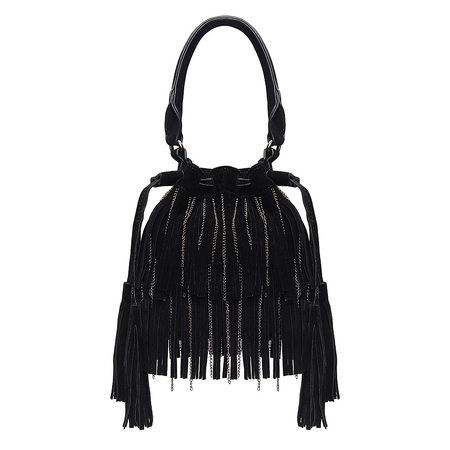 Suedette Duplo Tassel Grab Bag in Black