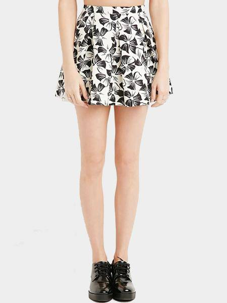 Floral Print Mini Pleated Skirt