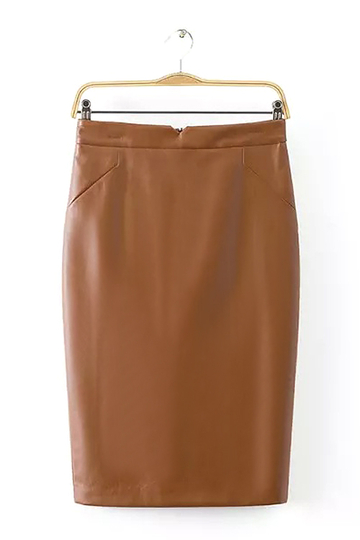 Artificial Leather Pencil Skirt in Tan