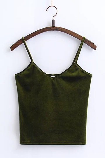 Green Fashion Velvet Cami