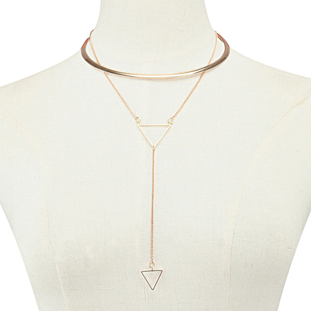 Gold Plated Collar Necklace With Triangle Pendant