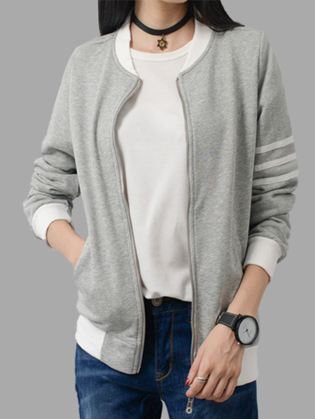 Grey Fashion Zip front Closure Side Pockets Jacket