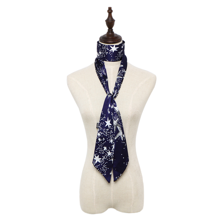 Planet Star Pattern Silky-look Skinny Long Scarf in Navy