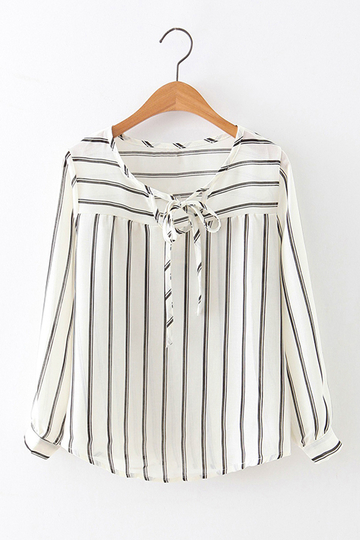 See-through Pattern Stripe mangas compridas blusa auto-tie