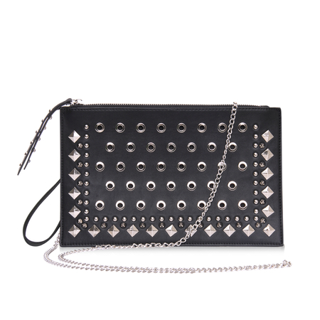 Black Rivet and Eyelet Rectangle Bag
