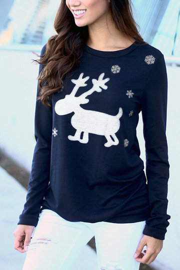 Navy Long Sleeves Round Neck Top