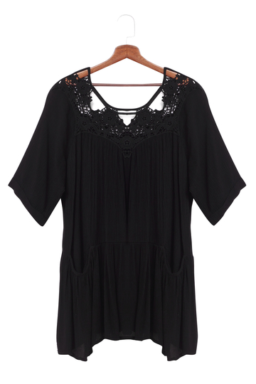 Loose Black Hollow Out Lace Beach Cover-up