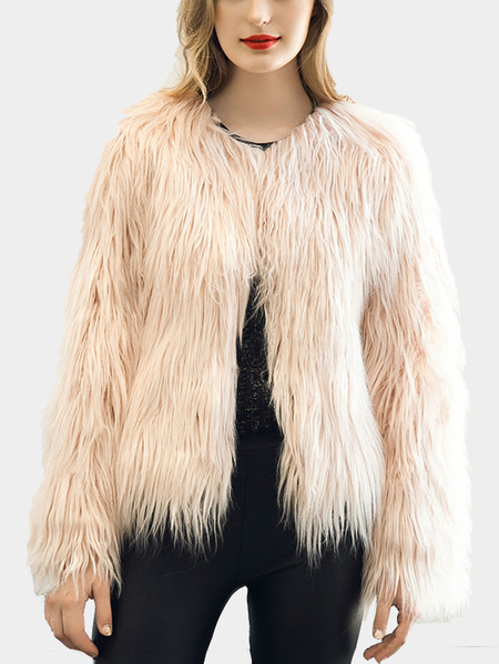 Pink Fashion Long Sleeves Artificial Fur Coat