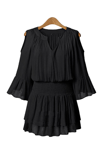 Plus Size 3/4 mangas Smocking Ruffled Mini Dress in Black
