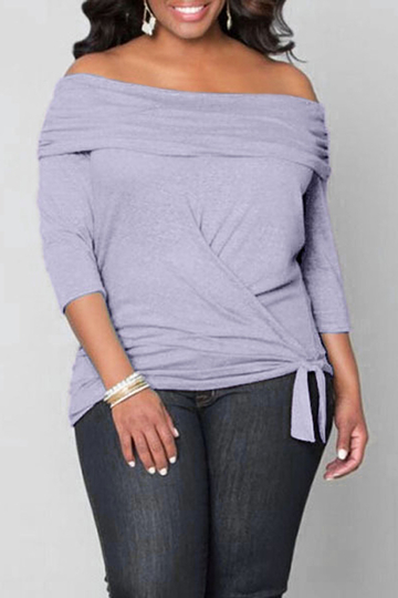 Plus Size Light Purple Off Shoulder Blouse with Tie Waist
