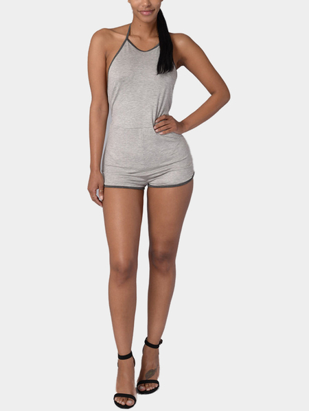 Grey Contrast Halter Open Back Playsuit with Tie Back