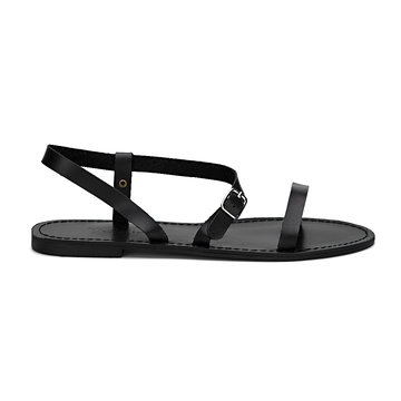 Noir Pin Buckle Strap bout ouvert Simple Slip-on de style Sandals
