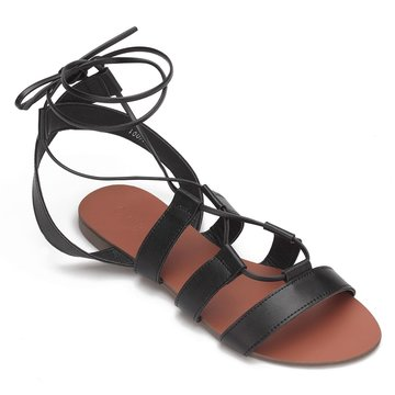 In pelle nera sguardo incrociato Strap Lace-up Sandali