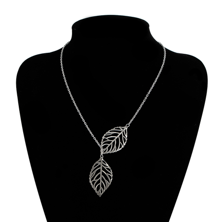 Silver Plated Double Leaves Lady Necklace