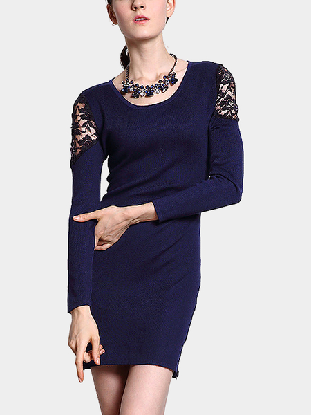 Navy Blue Lace Insert Long Sleeve Mini Dress in Knit