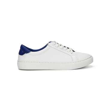 White Casual Leather Look Lace-up Sneakers with Blue Back Part