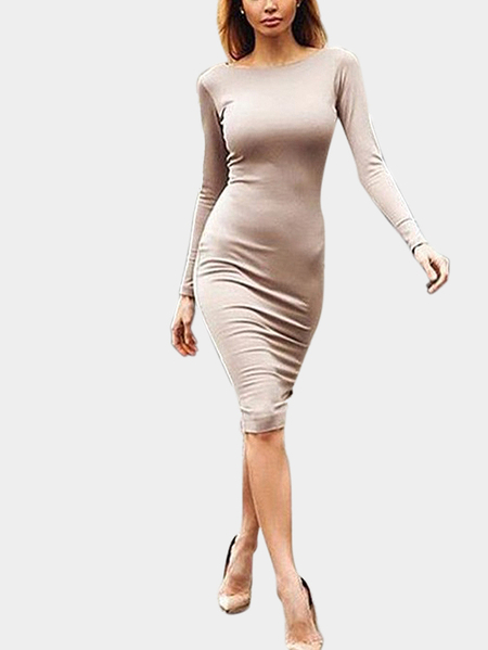 Apricot Long Sleeves Split Back Zip Body-con Midi Dress