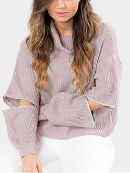 Pale Pink High Neck Jumper with Zipper Sleeves