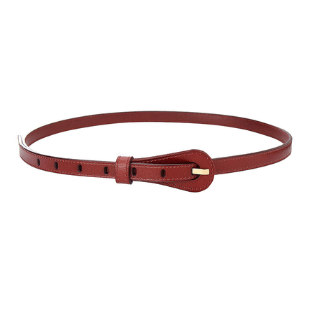 Textured Leather-look Skinny Waist Belt in Red