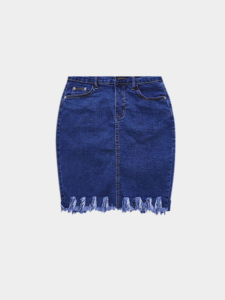 Sexy High-waist Rip Fringe Denim Skirt