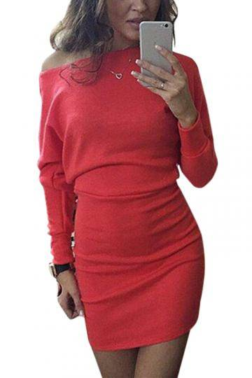 Round Neck Bat Long Sleeves Mini Dress in Red