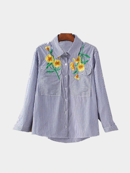 Embroidery Pattern Pocket Front Stripe Adjustable Sleeves Shirt