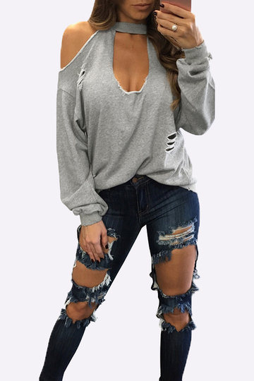 Grey Sexy Cold Shoulder Ripped Long Sleeves T-shirt