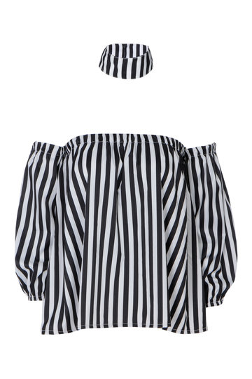 Off Shoulder Design Crop Stripe Shirt with Choker