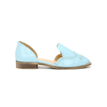 Light Blue Leather Look Round Toe Carving Slip-on Separate Shoes