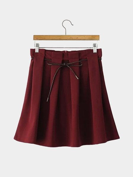 Red Belted Pleated Skirt