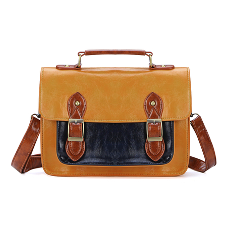 Jaune style vintage Cambridge Sac avec Big avant Pocket