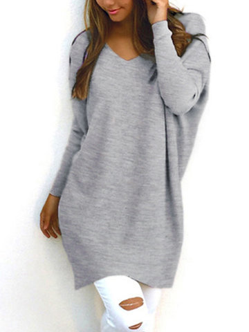 Gris Casual manches longues col V Pull